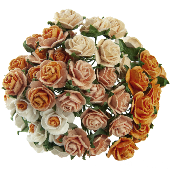 50 MIXED PEACH/ORANGE MULBERRY PAPER OPEN ROSES 25 MM