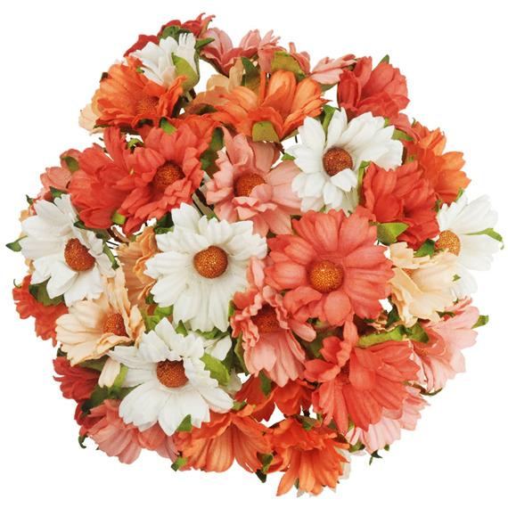 50 MIXED PEACH/ORANGE/WHITE MULBERRY PAPER CHRYSANTHEMUMS