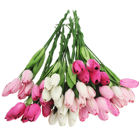 50 MIXED PINK MULBERRY PAPER TULIP FLOWERS WITH LEAF STEMS