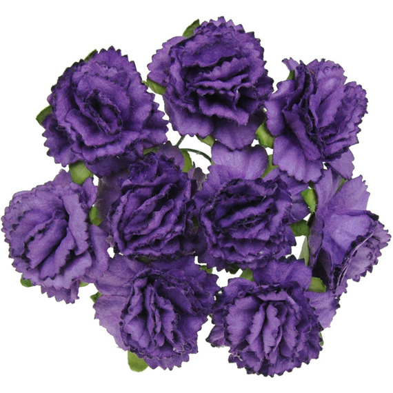 50 MIXED PURPLE CARNATION FLOWERS