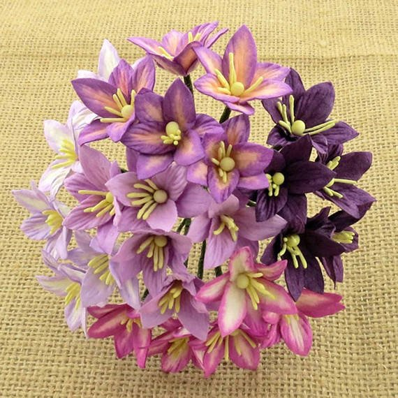 50 MIXED PURPLE/LILAC MULBERRY PAPER LILY FLOWERS