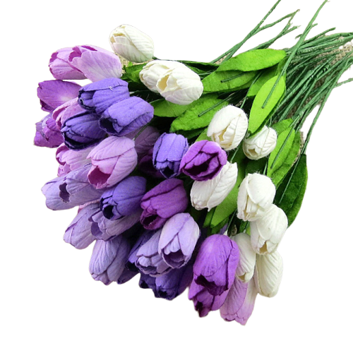 50 MIXED PURPLE/LILAC MULBERRY PAPER TULIP FLOWERS WITH LEAF STEMS