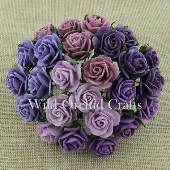 50 MIXED PURPLE/LILAC OPEN ROSES