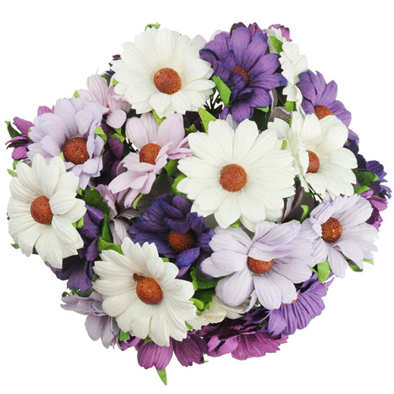 50 MIXED PURPLE/LILAC/WHITE MULBERRY PAPER CHRYSANTHEMUMS