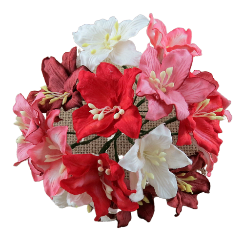 50 MIXED RED AND WHITE TONE MULBERRY PAPER LILY FLOWERS