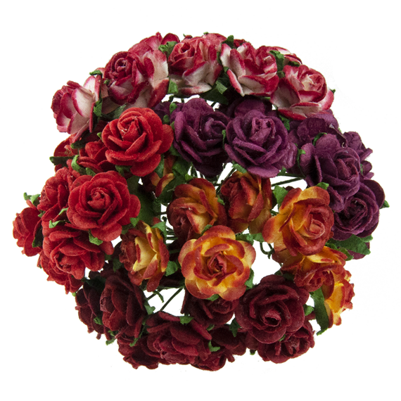 50 MIXED RED OPEN ROSES 20 MM