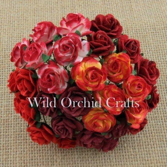 50 MIXED RED OPEN ROSES 25 MM