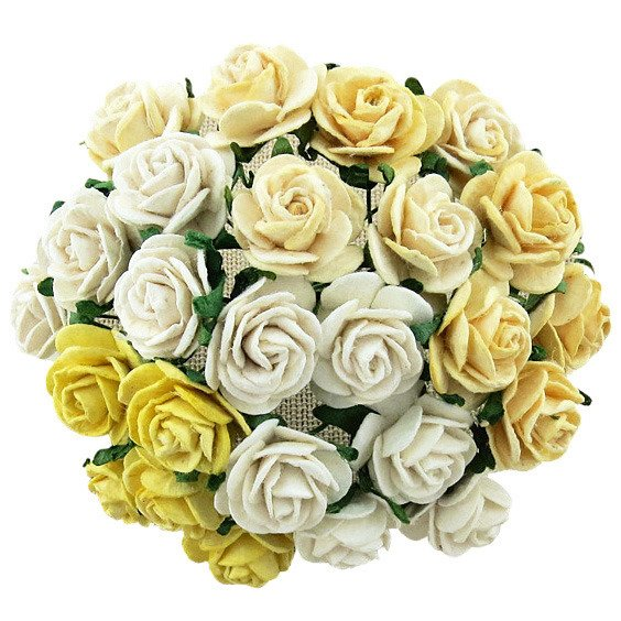 50 MIXED WHITE/CREAM OPEN ROSES 15 MM