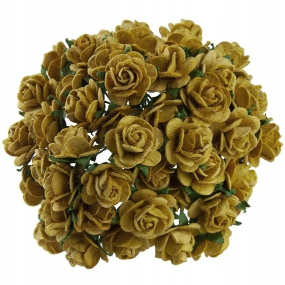 50 OLD GOLD MULBERRY PAPER OPEN ROSES 10MM