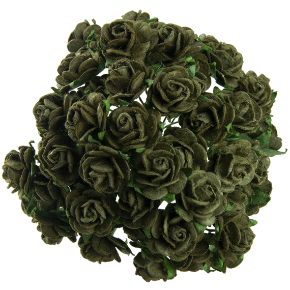 50 OLIVE GREEN MULBERRY PAPER OPEN ROSES 20 MM