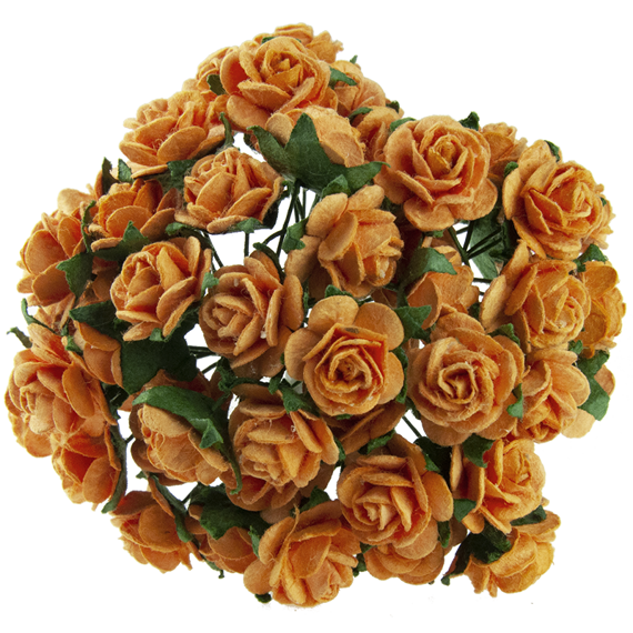 50 ORANGE MULBERRY PAPER OPEN ROSES 15 MM