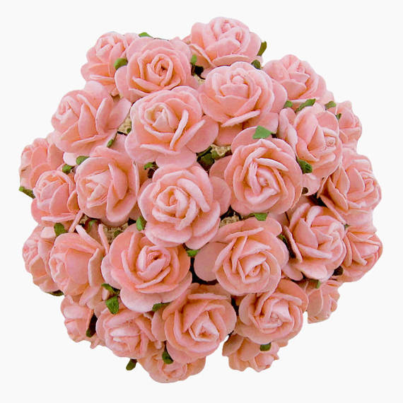 50 PALE PINK MULBERRY PAPER OPEN ROSES 15 MM