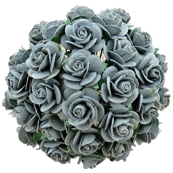 50 PARMA GREY MULBERRY PAPER OPEN ROSES 20 MM
