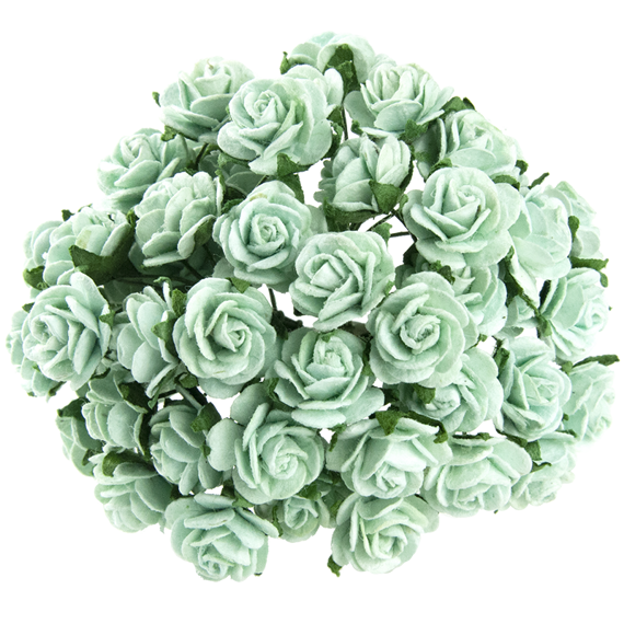 50 PASTEL GREEN MULBERRY PAPER OPEN ROSES 20 MM