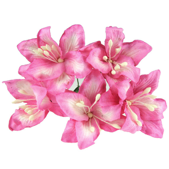 50 PINK MULBERRY PAPER LILY FLOWERS