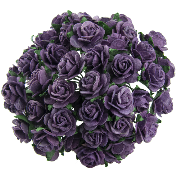 50 PURPLE MULBERRY PAPER OPEN ROSES 10MM
