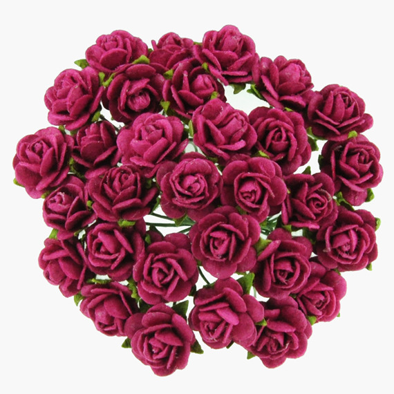 50 RUBY PINK MULBERRY PAPER OPEN ROSES 10MM