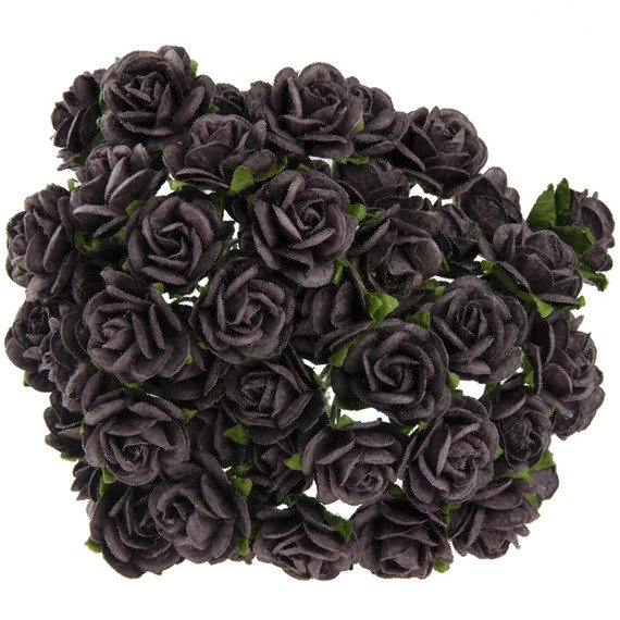 50 WALNUT MULBERRY PAPER OPEN ROSES 15MM