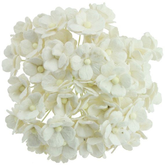 50 WHITE MULBERRY PAPER SWEETHEART BLOSSOM FLOWERS