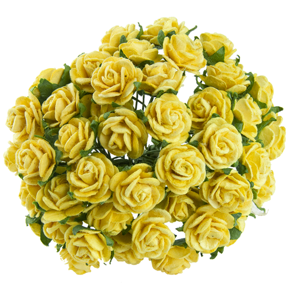 50 YELLOW MULBERRY PAPER OPEN ROSES 20MM