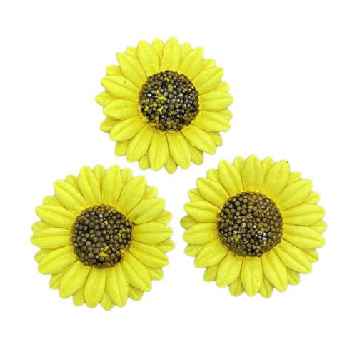 50 YELLOW MULBERRY PAPER SUNFLOWERS