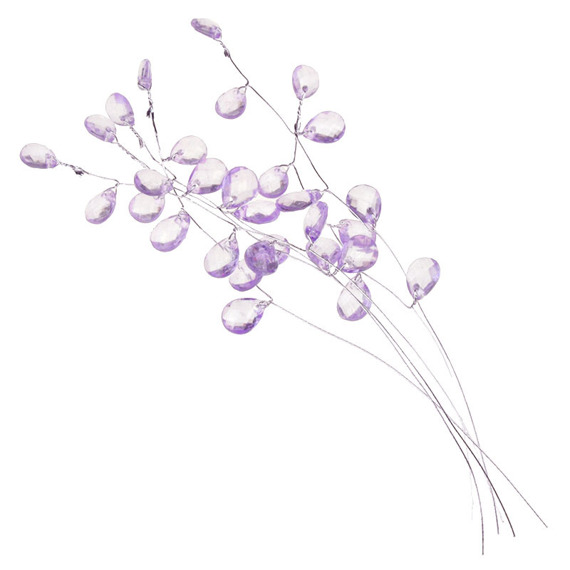 6 LILAC CRYSTAL DROPS (Chandeliers) ON SILVER STEMS