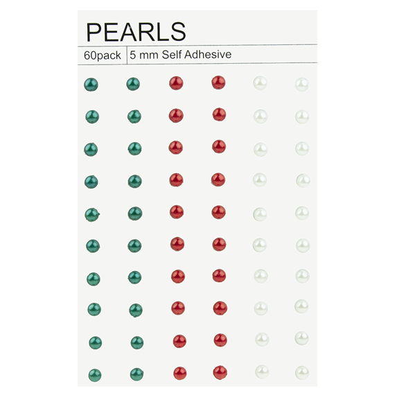 60 CHRISTMAS COLOUR SELF-ADHESIVE PEARLS