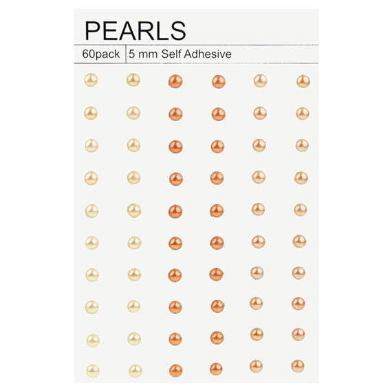 60 PEACH & ORANGE SELF-ADHESIVE PEARLS