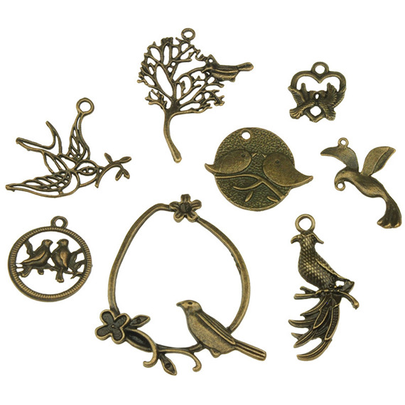 8 MIXED BIRD METAL EMBELLISHMENTS
