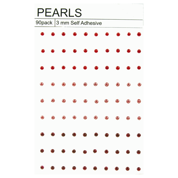 90 MIXED RED SELF ADHESIVE PEARLS