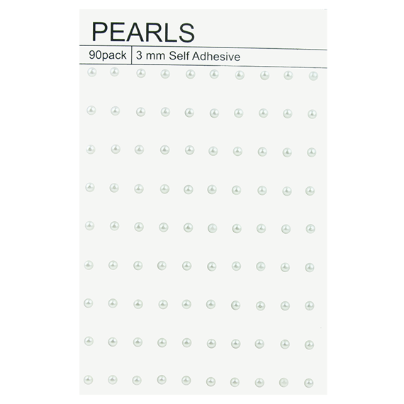 90 WHITE SELF ADHESIVE PEARLS