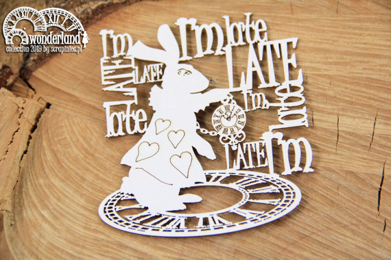 Chipboard - I'm late - Alice in Wonderland