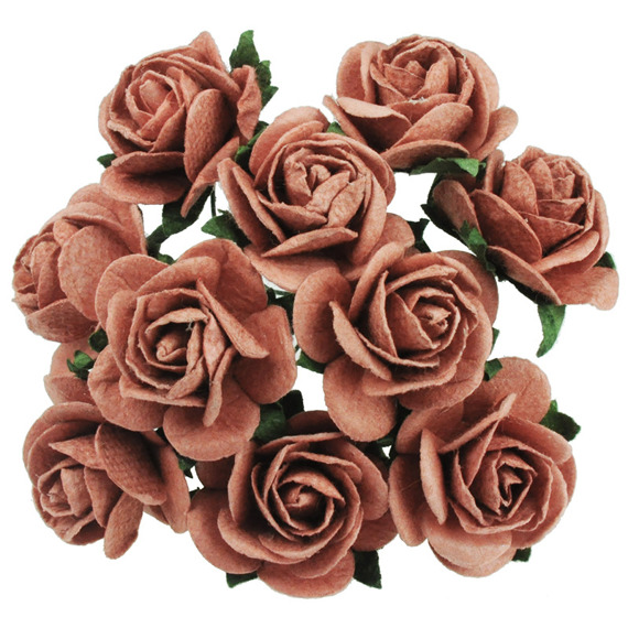 BRICK RED MULBERRY PAPER OPEN ROSES