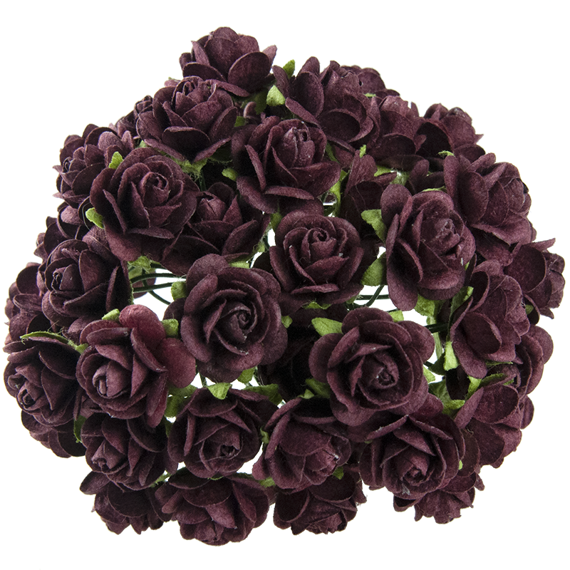 BURGUNDY MULBERRY PAPER OPEN ROSES