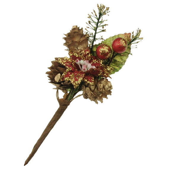 CHRISTMAS BERRY SPRAY GOLD CONE W/ RED POINSETTIA