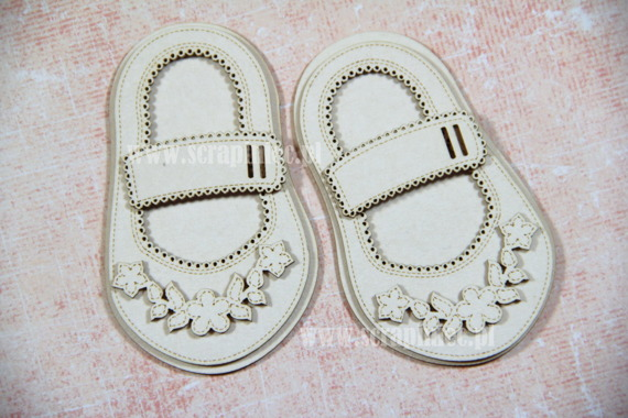 Chipboard Baby girl Shoes - Ballerina 4.5 x 8cm, buckles: wide with belt loop - 3D