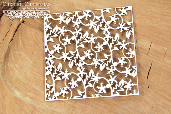 Chipboard Background with a Winter theme small - Cherish Christmas