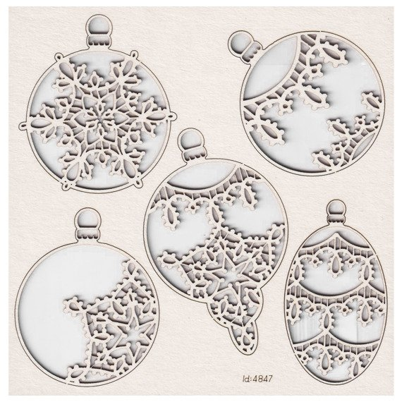Chipboard - Big Baubles - Tatting Christmas