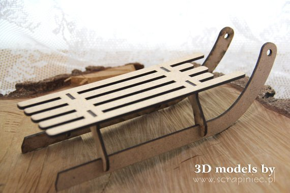Chipboard - Big Wooden Sleigh - Scrapiniec
