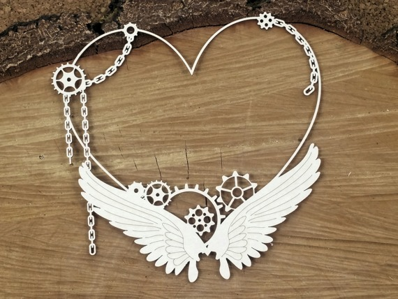 Chipboard - Big frame with a heart - Steampunk