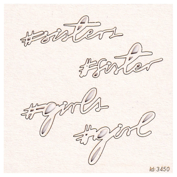 Chipboard Brush art script - Lettering #sisters (4 pcs)