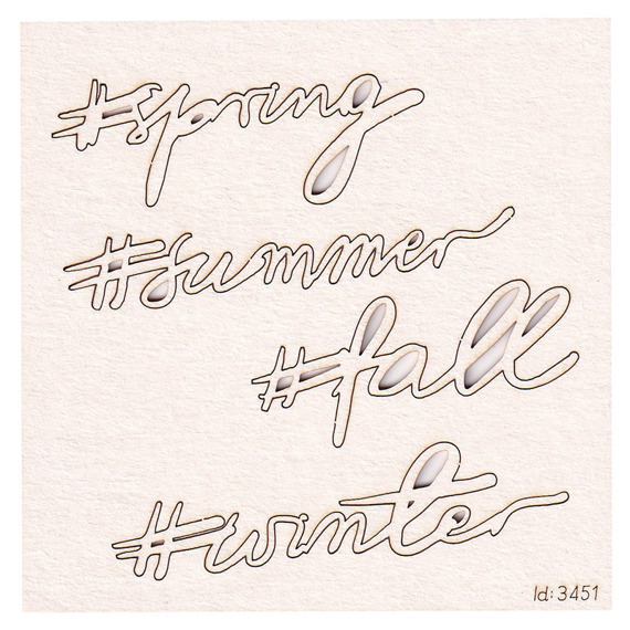 Chipboard Brush art script lettering seasons of the year