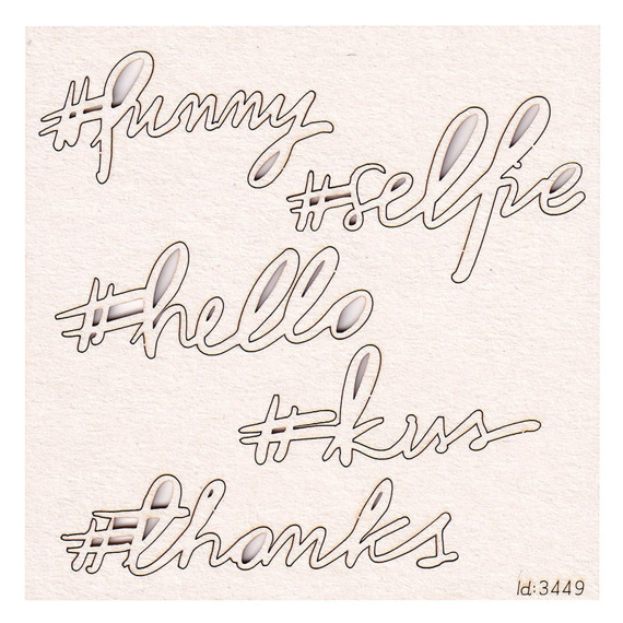Chipboard Brush art script - #selfie - Lettering -  (5 pcs)