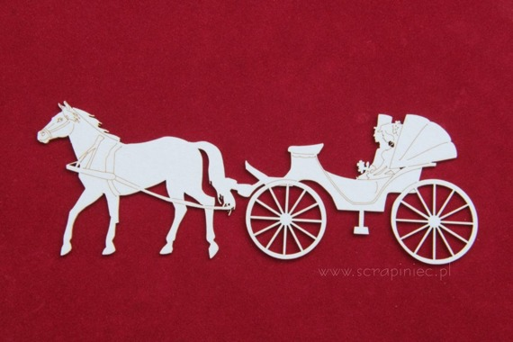 Chipboard Carriage with newlyweds- big size 18 x 6,5 cm