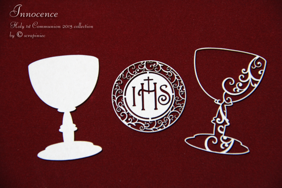 Chipboard Chalice and host -Innocence - Communion set 01  - 3D