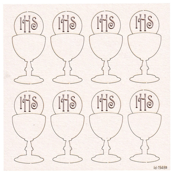 Chipboard Chalice with host - First Communion  - 6 cm (8 pcs)