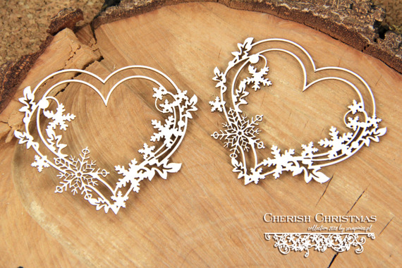 Chipboard - Cherish Christmas - 2 Hearts