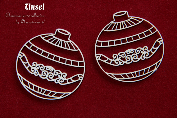 Chipboard Christmas Baubles 01- Tinsel