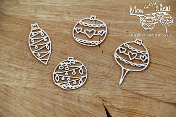 Chipboard Christmas baubles - Mon Merry cheri
