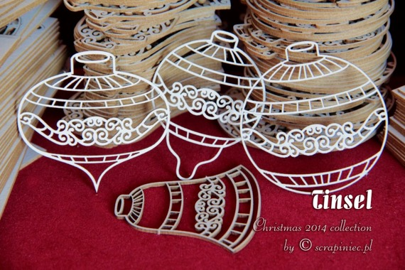 Chipboard Christmas set (5 pcs) Tinsel